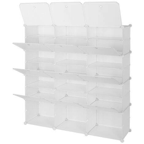 "main image of ""Portable Shoe Storage Shelves, 7 Tier 21 Compartment Modular Cabinet Storage Cube Unit Box for Shoe (White)"""