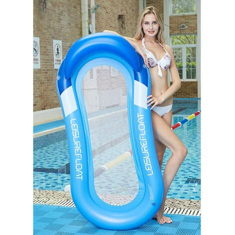 Portable Swimming Pool Floating Inflatable Water Hammock, 160x90cm Comfortable Foldable Multifunctional Inflatable Lounge Chair for Adult Child, Beach Party (Blue)