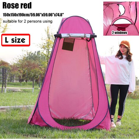 Portable Up Tent 150x150x190cm Rose Red Privacy Changing Room Outdoor Toilet Shower Dressing Camping