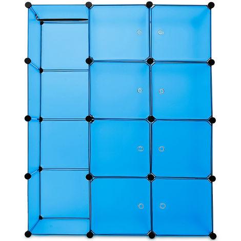 Portable Wardrobe Closet Modular Storage Organizer 600 L Blue
