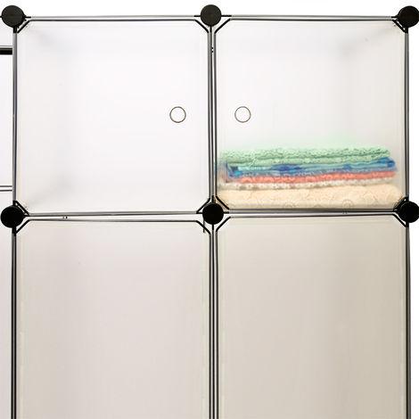 Portable Wardrobe Closet Modular Storage Organizer 600 L Transparent