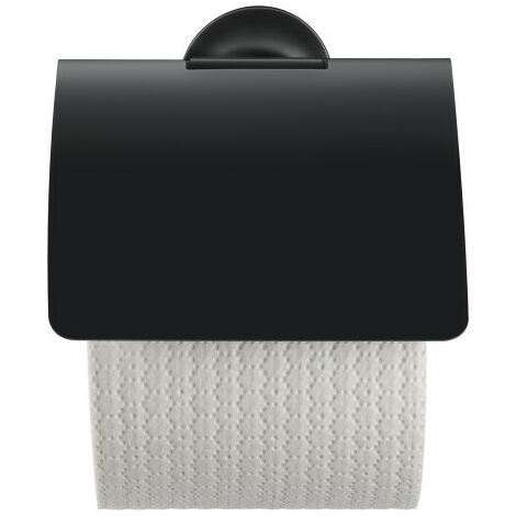 Portabobinas de papel Duravit Starck T con tapa 009940, color: Negro Mate - 0099404600