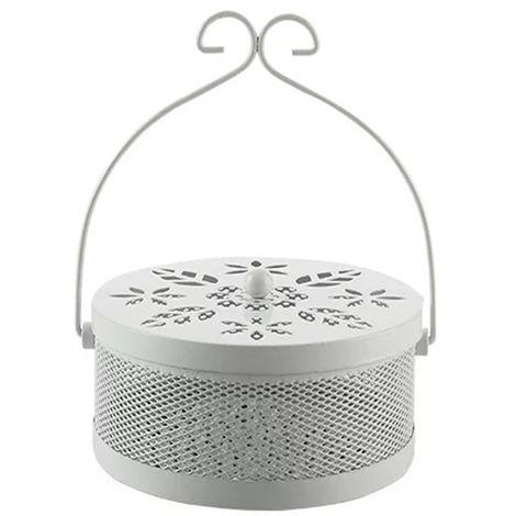 Portabobinas para mosquitos, caja de incienso repelente de mosquitos, con tapa,Blanco