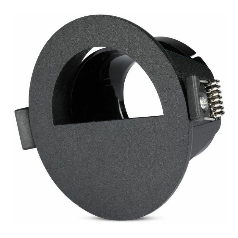 Portafaretto LED V-TAC da Incasso GU10 con Sezione a Mezza Luna Colore Nero con Interno Nero