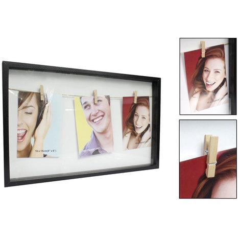 Portafoto Multiplo Fai Da Te.Portafoto Multiplo Cornice In Legno Con Corda E Mollette Per Appendere Foto