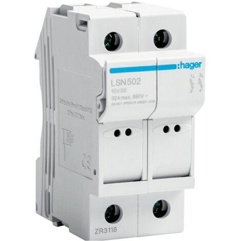 Portafusibles Hager 2P 32A 400V L38 2 Módulos de 10X38 LSN502