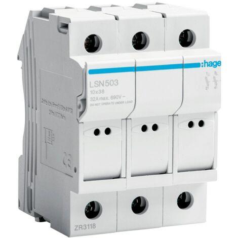 Portafusibles Hager 32A 400V 3P L38 3 módulos de 10X38 LSN503
