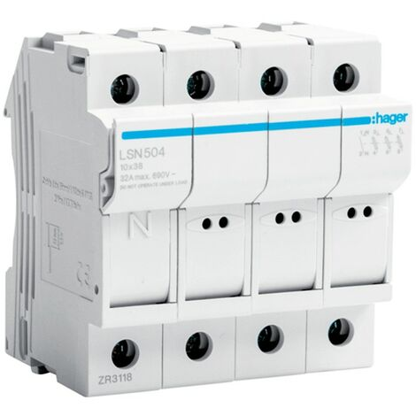 Portafusibles Hager 32A 400V 3P L38 4 módulos de 10X38 LSN504
