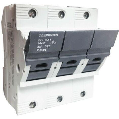 Portafusibles Italweber ser separados BCH 14 x 51 mm 3-polo 50A 690V 2303051