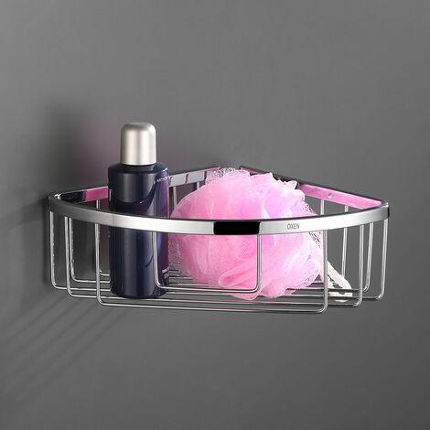 Portagel bajo de esquina, cesta de ducha y bañera ALD fabricada en laton con acabado cromo cromado, para botes de gel o champu. Kibath