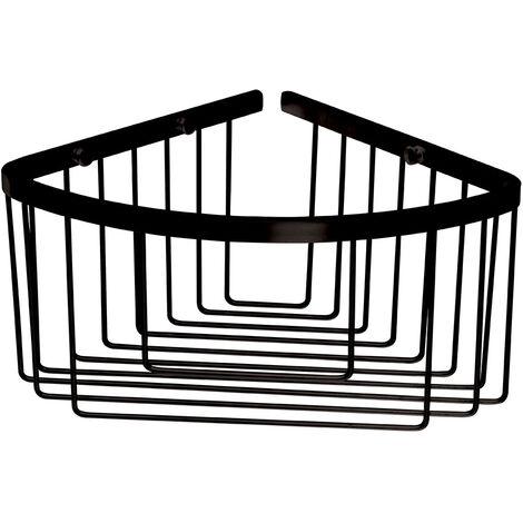 Portagel bajo de esquina, cesta de ducha y bañera ALD fabricada en laton con acabado cromo cromado, para botes de gel o champu. Sin taladros, sin obras, con adhesivos Kibath