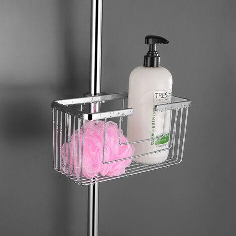 Portagel cesta de ducha y bañera ALVA sin taladros, sin adhesivos, fabricada en latón ligera con acabado en cromo brillo. Sujección frontal Kibath