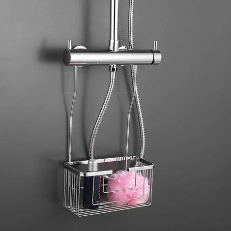 Portagel cesta de ducha y bañera sin taladros ligera con acabado en cromo brillo Kibath