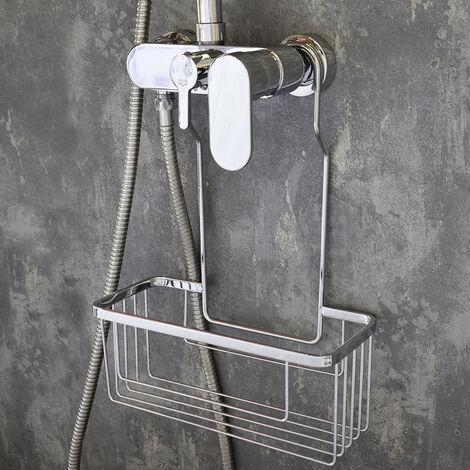Portagel cesta de ducha y bañera sin taladros SOL, muy ligero, fabricado en acero inoxidable, fácil de limpiar y de gran resistencia, con acabado en cromo brillo Kibath