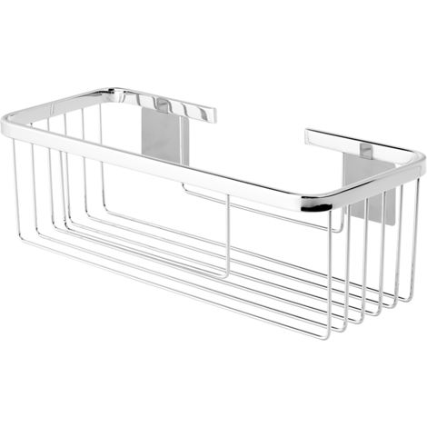 Portagel rectangular adhesivo acero inox cromado brillo- CM Baños