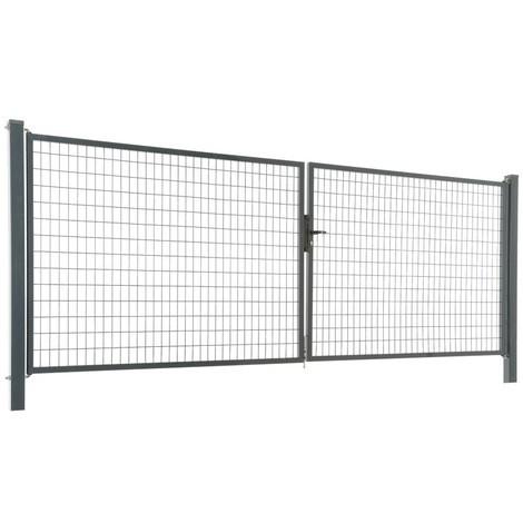 Portail acier galvanisé grillagé maille 100x50 - Passage 4m00