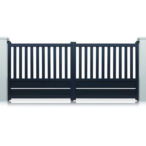 Portail aluminium battant Cleveland - Couleur : Gris - Hauteur : 1300 mm - Plusieurs largeurs disponibles