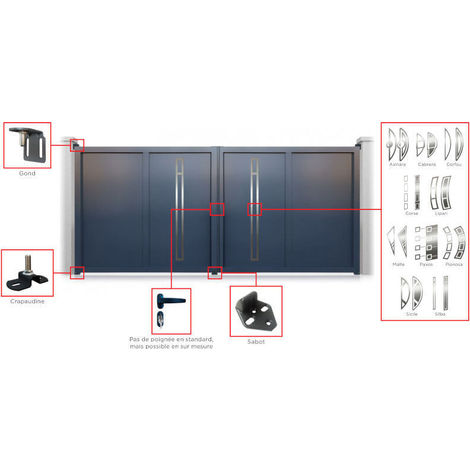 Portail aluminium battant Decornox Gris Décor Asinara - plusieurs dimensions disponibles