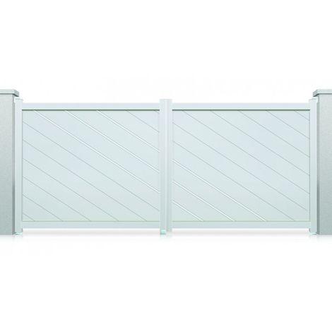 Portail aluminium battant Memphis - Couleur : Blanc - Hauteur : 1800 mm - Plusieurs largeurs disponibles