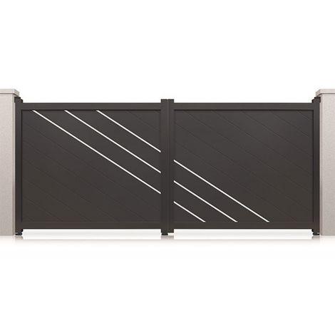 Portail aluminium battant Memphis - Couleur : Gris - Hauteur : 1800 mm - Plusieurs largeurs disponibles