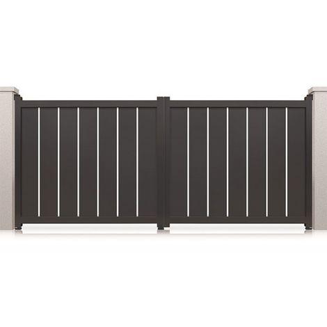 Portail aluminium battant Philadelphia - Couleur : Gris - Hauteur : 1800 mm - Plusieurs largeurs disponibles
