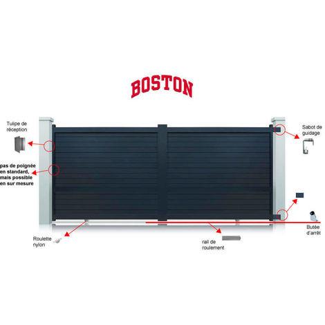 Portail aluminium Boston coulissant 2 vantaux - Couleur : Gris - Hauteur : 1800 mm - plusieurs largeurs disponibles
