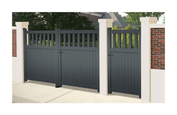 Portail Aluminium Cavalière - Coulissant 2 Vantaux (assemblés) - Couleur - Blanc RAL 9010 satiné, Longueur - 4m