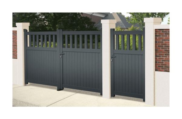 Portail Aluminium Cavalière - Coulissant 2 Vantaux (assemblés) - Couleur - Blanc RAL 9010 satiné, Longueur - 3,5m