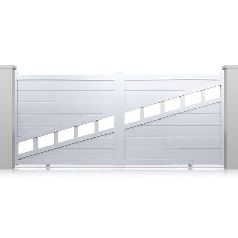 Portail aluminium coulissant Chicago - Couleur : Blanc - Hauteur : 1600 mm - Plusieurs largeurs disponibles