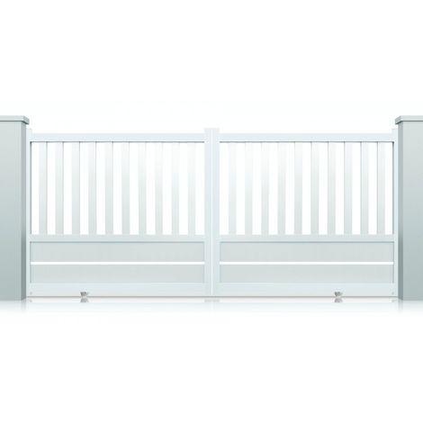 Portail aluminium coulissant Cleveland - Couleur : Blanc - Hauteur : 1300 mm - Plusieurs largeurs disponibles