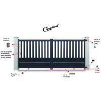 Portail aluminium coulissant Cleveland - Couleur : Gris - Hauteur : 1300 mm - Plusieurs largeurs disponibles