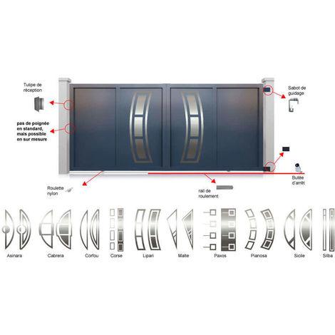Portail aluminium coulissant Decornox Gris Décor Sicile inversé - plusieurs dimensions disponibles