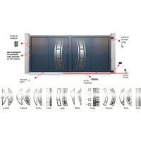 Portail aluminium coulissant Decornox Gris Décor Silba inversé - plusieurs dimensions disponibles