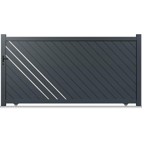 Portail aluminium coulissant droit Everest 350 x 180 cm gris anthracite 7016