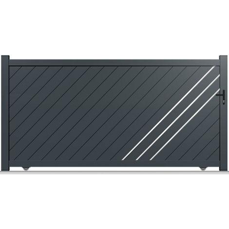 Portail aluminium coulissant gauche Everest 350 x 180 cm gris anthracite 7016