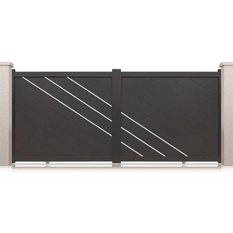 Portail aluminium coulissant Memphis - Couleur : Gris - Hauteur : 1800 mm - Plusieurs largeurs disponibles