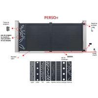 Portail aluminium coulissant personnalisable gris décor gris 2 vantaux - plusieurs tailles et couleurs disponibles