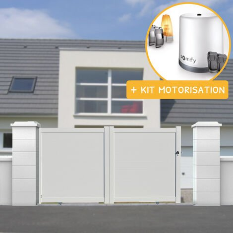Portail aluminium coulissant plein en kit + Motorisation