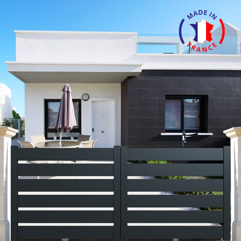 Portail aluminium coulissant SAH en kit dimension L.4000 (entre piliers) X H.1500 mm couleurs Blanc (RAL 9010)
