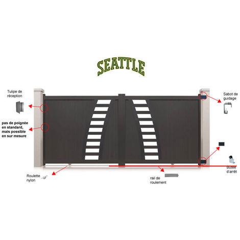 Portail aluminium coulissant Seattle - Couleur : Gris - Hauteur : 1800 mm - Plusieurs largeurs disponibles