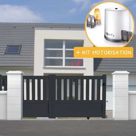 Portail aluminium coulissant semi-ajouré en kit + Motorisation