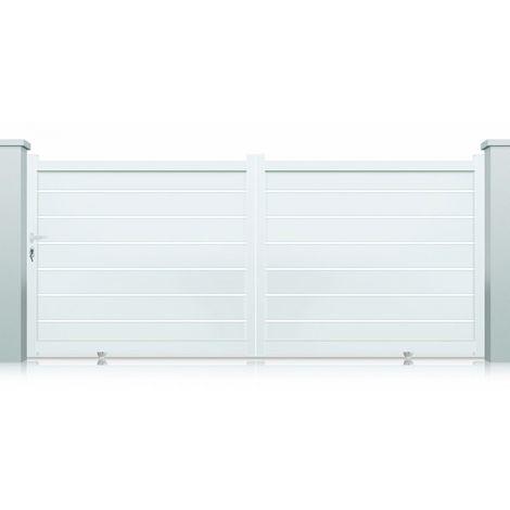 Portail aluminium Dallas coulissant 2 vantaux - Couleur : Blanc - Hauteur : 1700 mm - Plusieurs largeurs disponibles