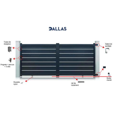 Portail aluminium Dallas coulissant 2 vantaux - Couleur : Gris - Hauteur : 1700 mm - Plusieurs largeurs disponibles