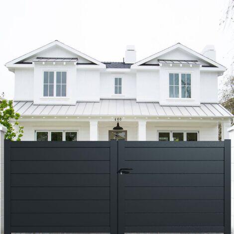 Portail aluminium battant plein en kit dimension L.3000 (entre piliers)X H.1500 mm couleurs Gris (RAL 7016)
