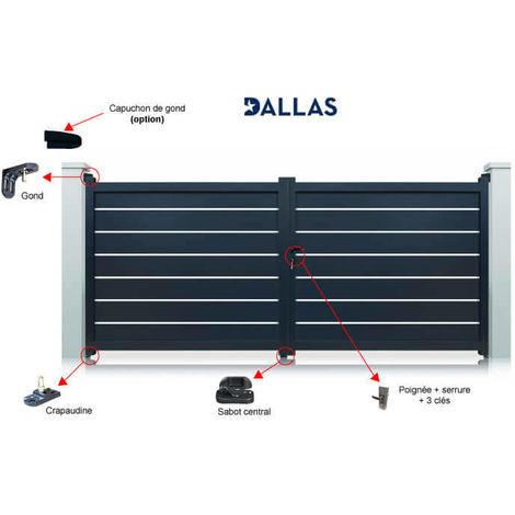 Portail aluminium Gris Dallas battant standard manuel - plusieurs largeurs disponibles