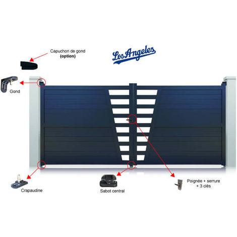 Portail Aluminium Gris Los Angeles Battant Standard - plusieurs largeurs disponibles