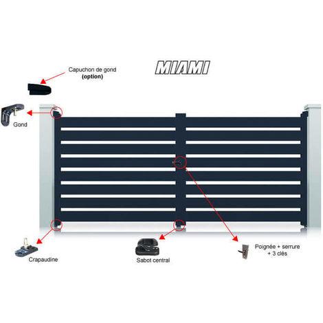 Portail Aluminium Gris Miami Battant Standard - plusieurs tailles disponibles
