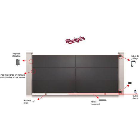 Portail Aluminium Gris Washington Coulissant Standard - Hauteur : 1800 mm - plusieurs largeurs disponibles