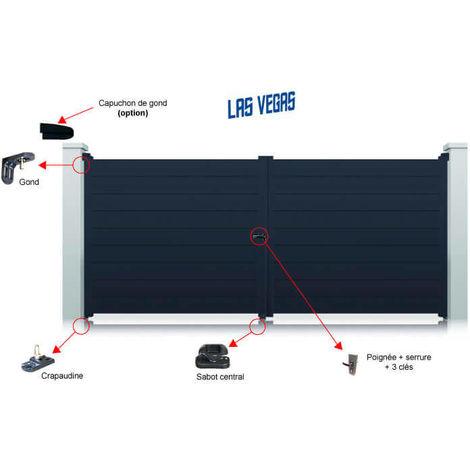 Portail aluminium Las Vegas battant standard manuel - Couleur : Gris - Hauteur : 1600 mm - plusieurs largeurs disponibles