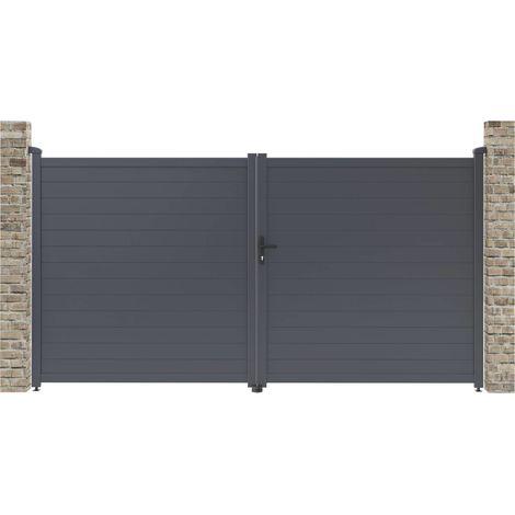 """Portail aluminium """"Marc"""" - 349.5 x 180.9 cm - Gris"""